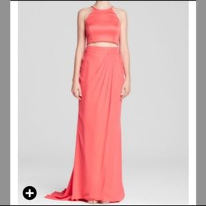 Pink crop top gown for prom or formal events!